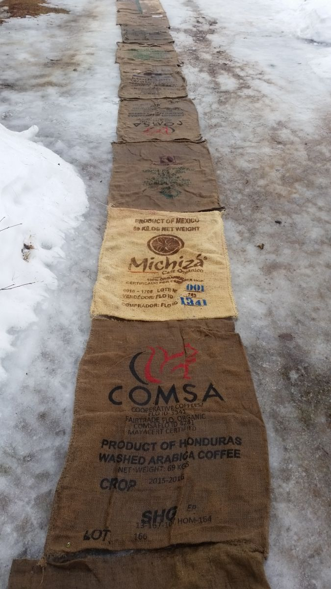 A path of jute coffee bags leads to The Roasting Shack